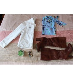 🔥white jean jacket 🔥